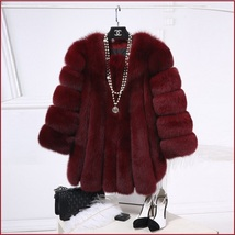 Long Full Pelt Burgundy Fox Faux Fur O Neck with Long Sleeves Luxury Fur Coat image 2