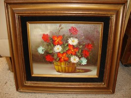 Original Oil Painting Floral on Canvas by Jenkins Signed & Framed 8X10 - $45.00