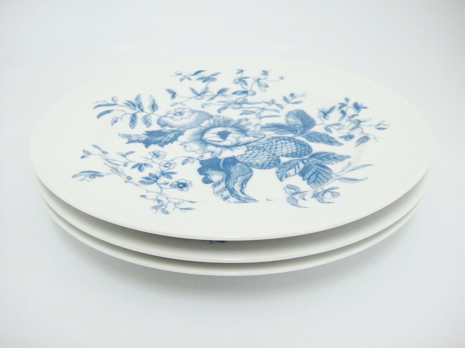 Royal Worcester Rhapsody Salad Plates Lot of 3 Blue Floral England Excellent