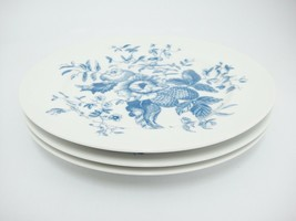 Royal Worcester Rhapsody Salad Plates Lot of 3 Blue Floral England Excel... - $19.79
