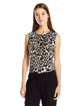Calvin Klein Women's Fashion Printed Knit Top, Khaki Multi, M - $32.99