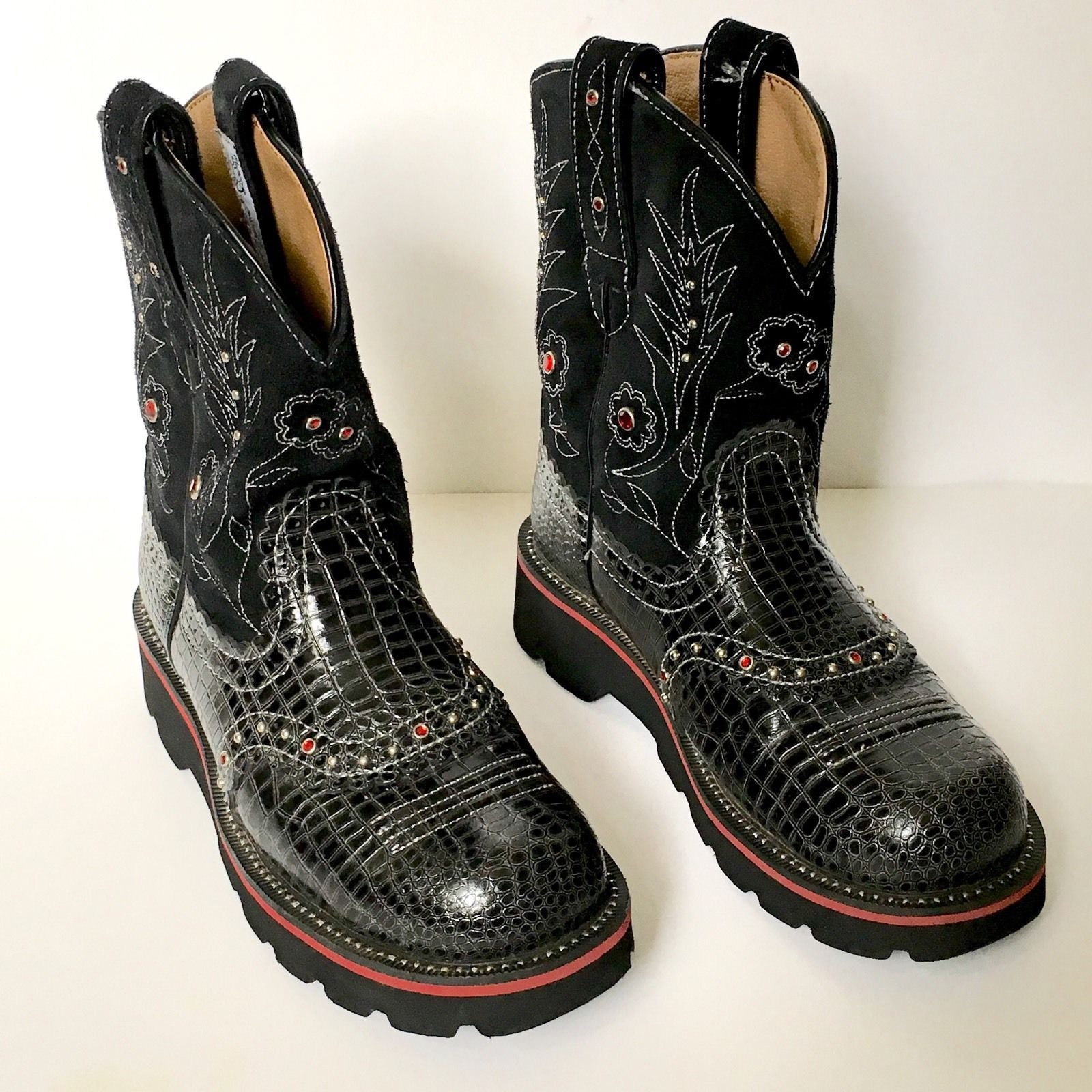 Ariat FatBaby Gem Baby 16405 Black Croc Leather Studded Western Roper Boots 6B