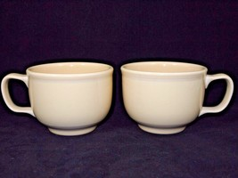 2 FIESTA WARE Homer Laughin 18 oz YELLOW Coffee Cappuccino Tea Soup Mug Cup - $26.17