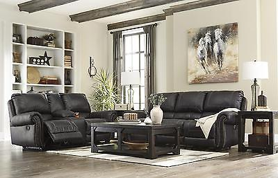 Ashley Milhaven 2 Piece Living Room Set in Black with Power Contemporary Style