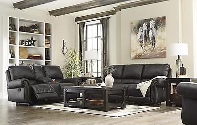 Ashley Milhaven 3 Piece Living Room Set in Black with Power Contemporary Style
