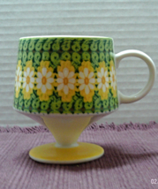 Vintage MOD Yellow Flowers Coffee Cup // MID CENTURY Flower Power Mug - $6.50