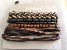 New Jubilee 5 Piece Leather Twine Brown Black Bracelet Set Elastic and Ties