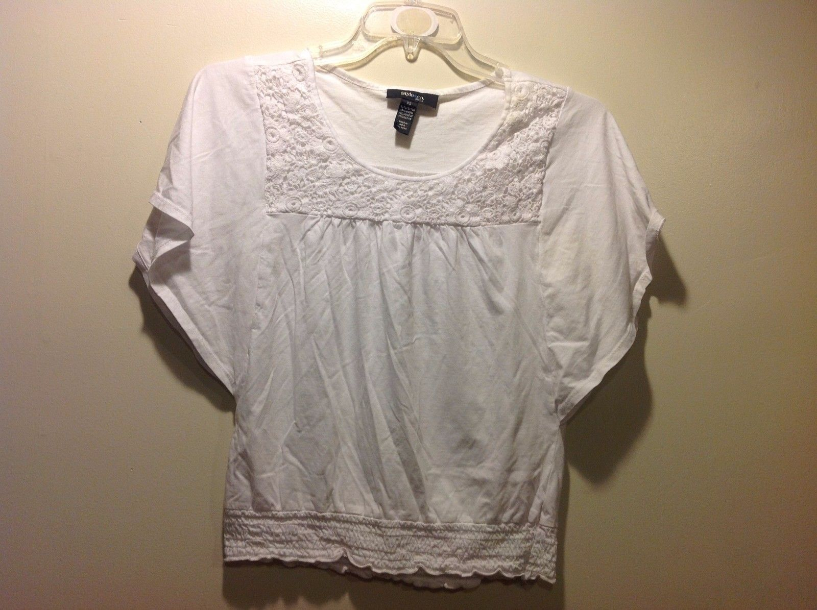 Good Condition Style & Co. Petite Small White Blouse Short Sleeve Frilly Flowy