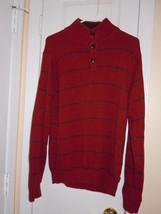 IZOD Mens Size M LONG SLEEVE RED MOCK TURTLENECK PULLOVER SWEATER 100% C... - $11.87