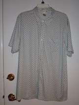 "ALFANI Mens XL White Short Sleeve Shirt with Blue,Gray and Tan ""Chain De... - $4.90"