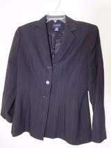 ANN TAYLOR Womens PETITE Size 12P BLACK WOOL PIN-STRIPED LINED BLAZER Ni... - $17.80