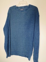 LANDS END Mens Size M BLUE L/S CREW NECK PULLOVER SWEATER (Made In USA) ... - $10.69