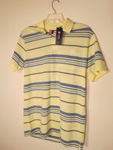 CHAPS Mens Size M YELLOW S/S STRIPED POLO SHIRT NWT $45.00 ( 65% OFF ! )  - $15.59