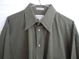ALFANI Mens 16-1/2 Shirt 34/35 sleeves EUC 100% cotton Green ( Dry Clean... - $7.91
