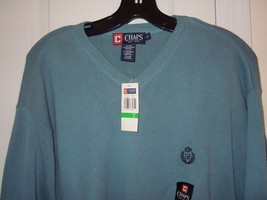 CHAPS Mens (NWT) Size L  V-Neck Sweater Light Blue 100% Cotton (w/Logo on Chest) - $15.83