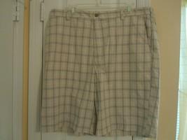 NWT IZOD Mens Size 38 GOLF SHORTS Light Tan w/Checkered Pattern ( BRAND ... - $12.82