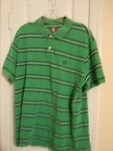 CHAPS Mens Size XL GREEN STRIPED SHORT SLEEVE POLO SHIRT 100% Cotton VER... - $7.43