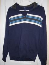 JOHN ASHFORD Mens Size L BLUE MOCK TURTLE ZIPPER NECK LONG SLEEVE SWEATE... - $15.79