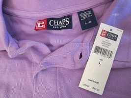 CHAPS Mens Size L (NWT $40.00) VIOLET Short Sleeve GOLF / POLO SHIRT 50%... - $19.80
