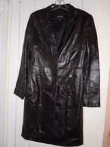 EXPRESS Women's (JUNIORS) Size 3-4, Black LEATHER COAT Button Down NICE ! ! - $15.79