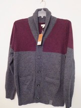 Men's Size L Cardigan Sweater Gray & Burgundy NWT $80.00 (60% OFF) Only $32.00 ! - $31.68