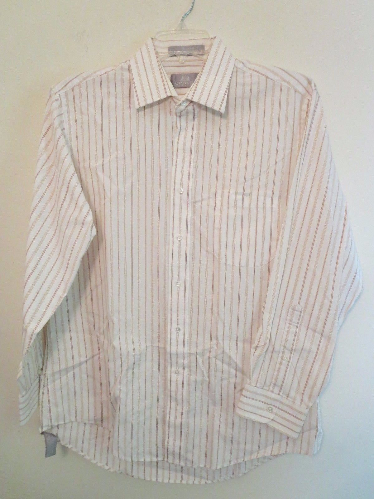Stafford Men 39 S Size 16 33 Cream Color Pinstripe Shirt 100