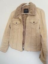 Arizona Womens Size M Tan Full Zippered Jacket w/QUILTED Lining & Faux Fur Trim - $18.80