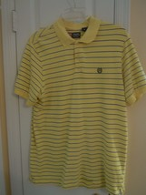 CHAPS Mens Size M YELLOW STRIPED Short Sleeve GOLF / POLO SHIRT 100% Cotton - $7.92