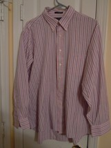 CHAPS Mens Size XL (17,17-1/2) 34/35 Pink & Blue Twill Striped Oxford Co... - $9.85