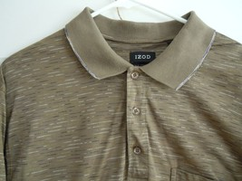IZOD Mens Large Short Sleeve 100% Cotton Shirt Army Green w/Pattern - $7.91