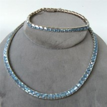 Vintage Blue Rhinestone Necklace and Bracelet S... - $39.59