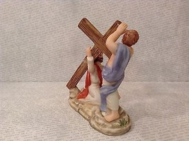 Simon Helping Jesus Bible Scene with Cross Ceramic Figurine 1989 Vintage image 3
