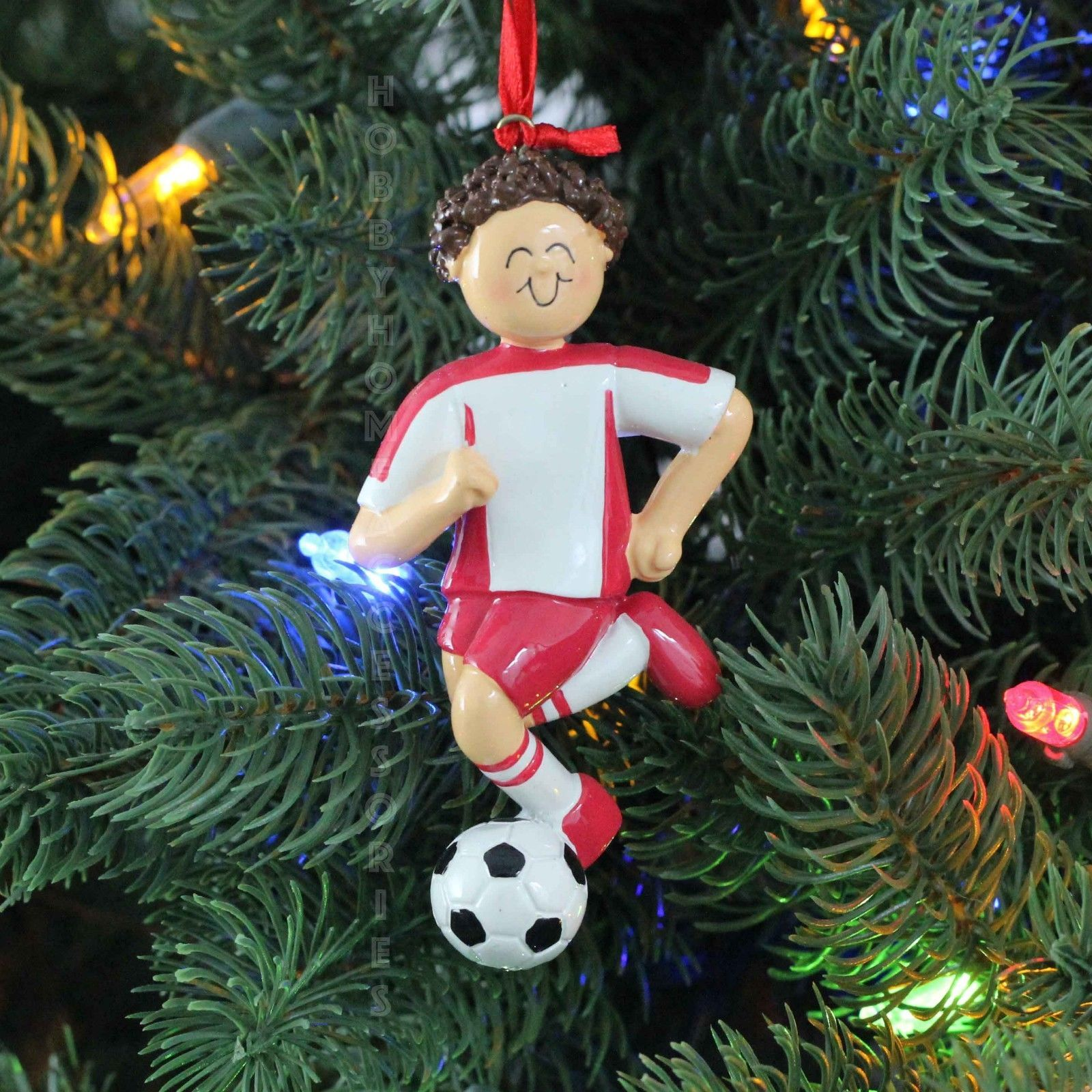 Boy soccer player green brown hair personalized christmas for Custom christmas tree ornaments