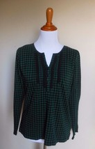 Chaps ~ Large Hunter Green Black Checkered Lace Pintucked Bib Knit Henely Top - $21.77