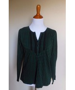 CHAPS ~ LARGE HUNTER GREEN BLACK CHECKERED LACE PINTUCKED BIB KNIT HENEL... - $12.00