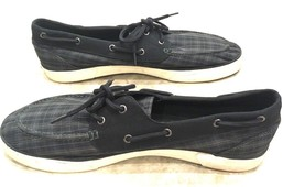 Polo Ralph Lauren Lander Black Green Sapphire Plaid Logo Sneakers Boat S... - $43.56