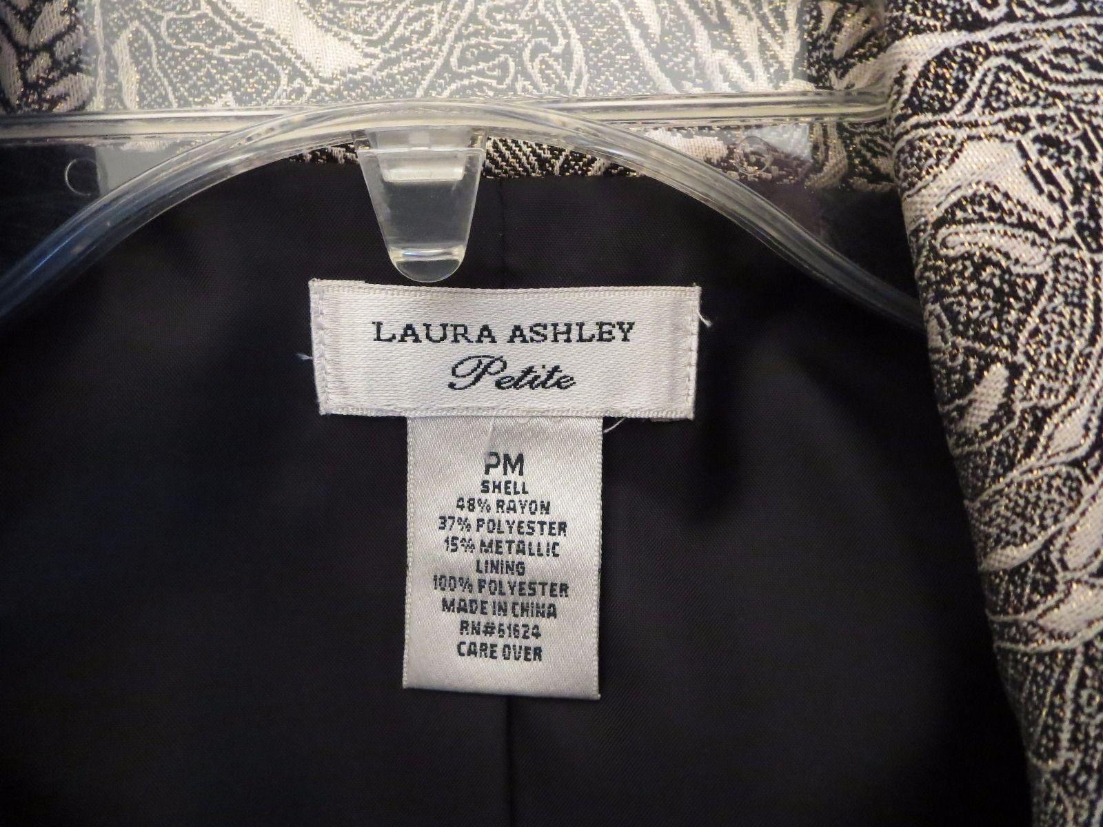 LAURA ASHLEY Womens PETITE Size PM METALLIC GOLD & BLACK FLORAL PATTERN BLAZER