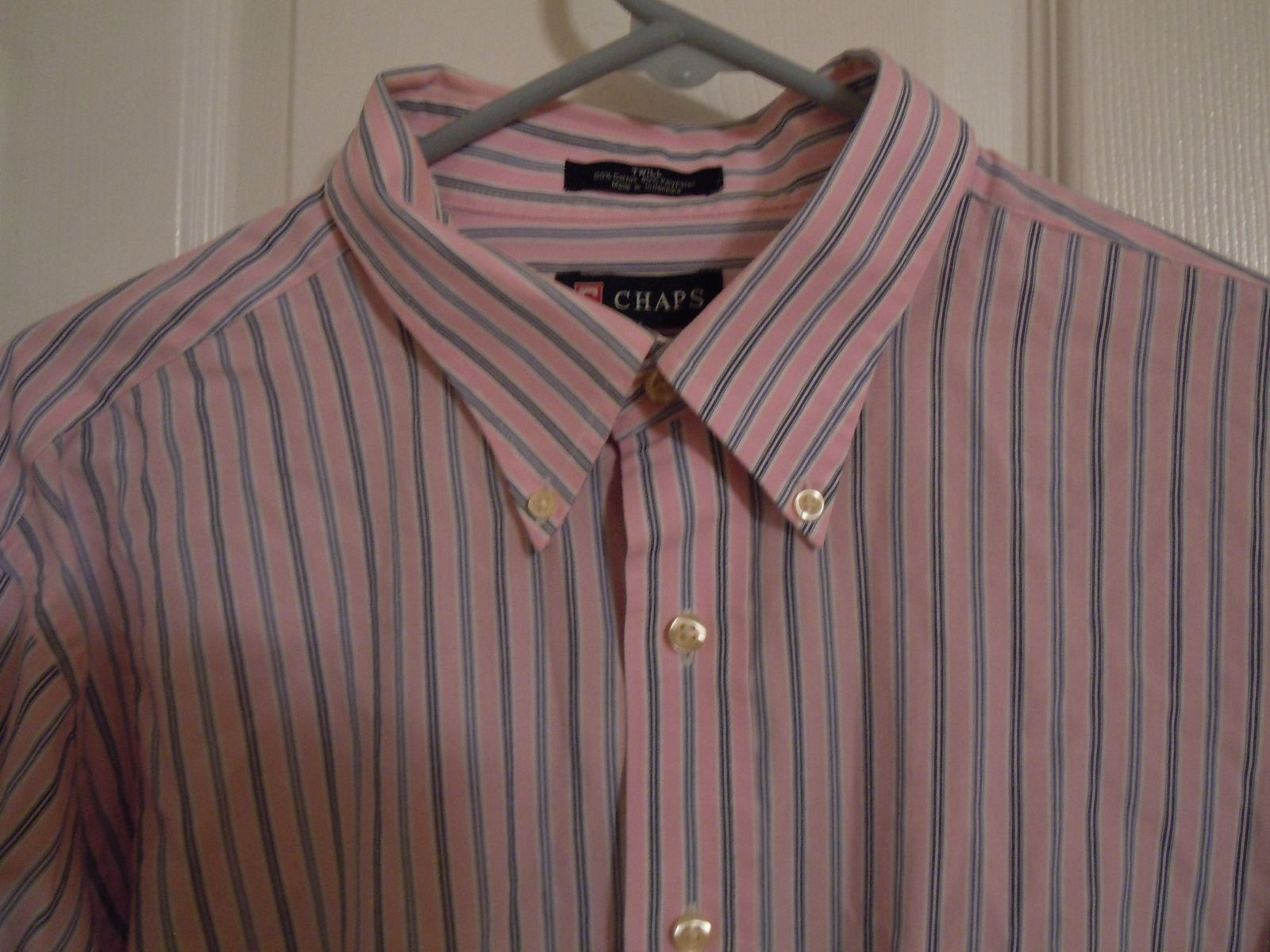 CHAPS Mens Size XL (17,17-1/2) 34/35 Pink & Blue Twill Striped Oxford Collar