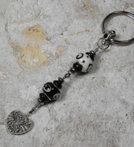 Murano Swirl Heart Beaded Handmade Keychain Split Key Ring Black White S... - $14.54