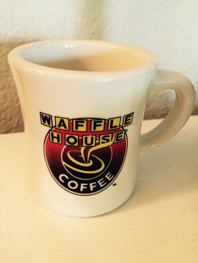 Vintage tuxton rounded waffle house advertising coffee cup for Heavy ceramic coffee mugs