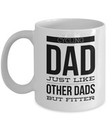 Cycling dad just like other dads but fitter white mug front 11 thumbtall