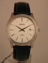 Seiko mens watches black bracelet silver tone case silver dial classic S... - $172.26