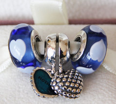 925 Sterling Silver Charms Beads Jewelry Gift Set Fit Bracelet-Mother & Son - $36.99