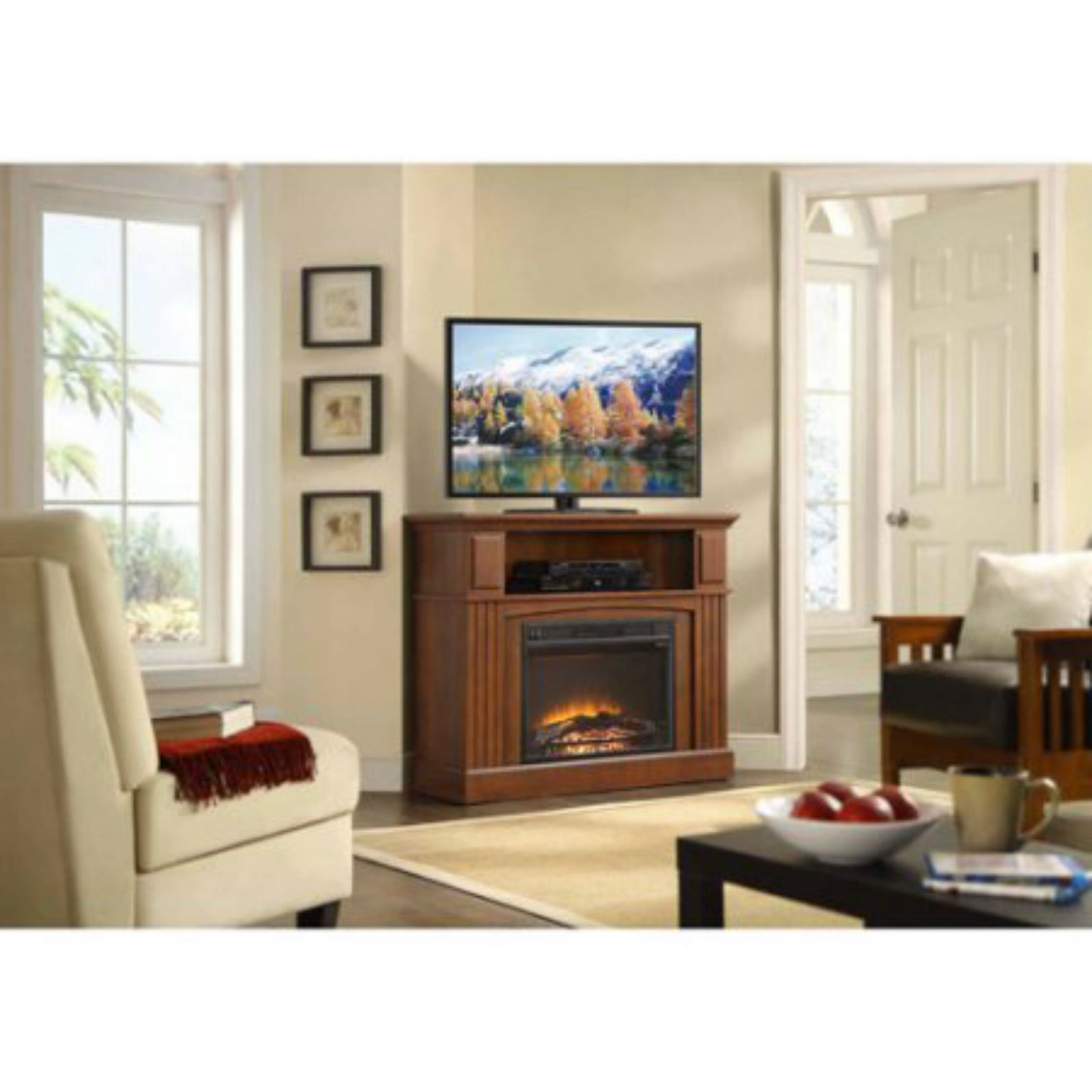 Electric Fireplace Tv Stand Corner Media Center Console Stove Heater Cabinet New Fireplaces