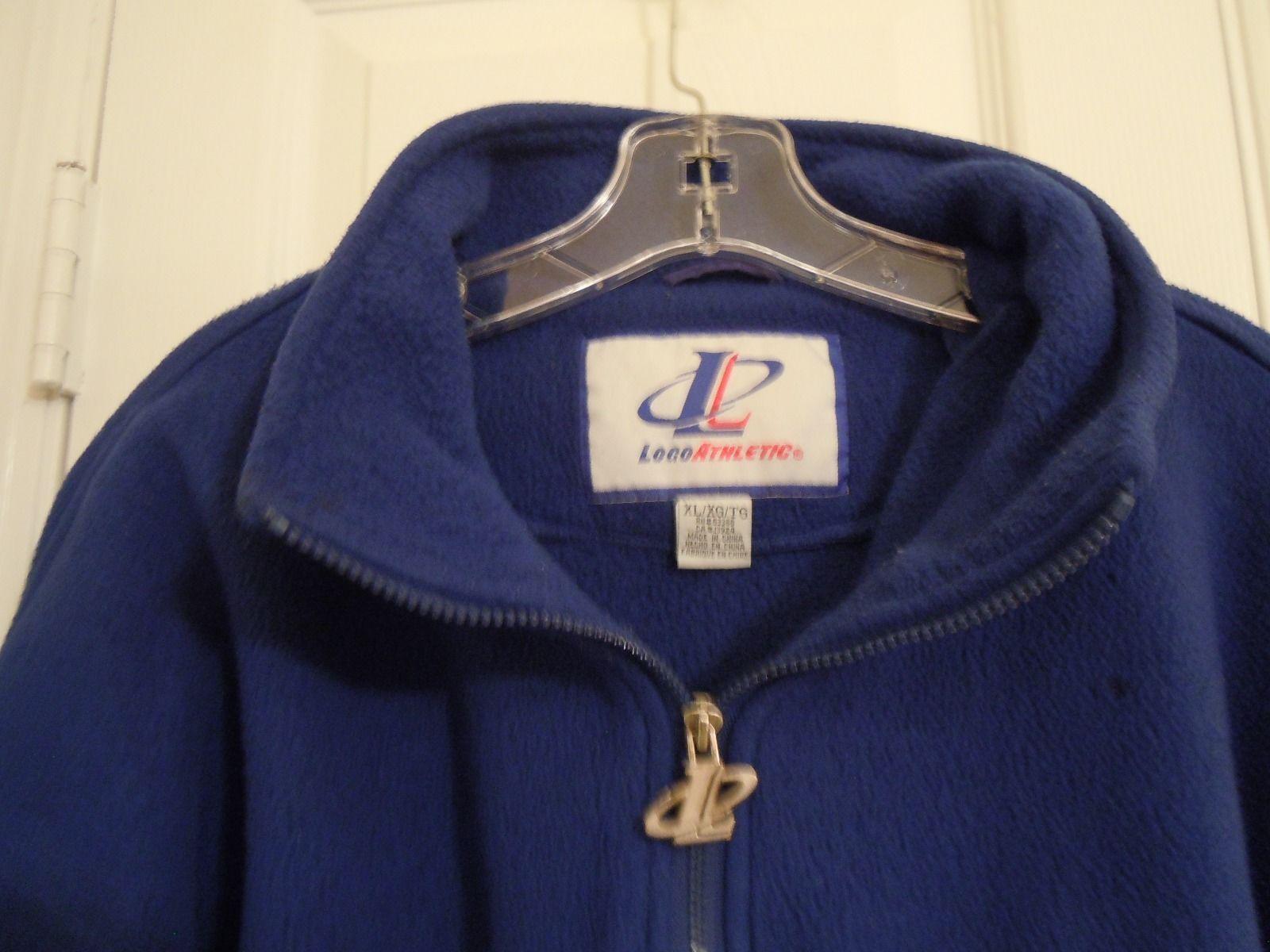 LOGO ATHLETIC Mens XL Blue Zipperneck Pullover SWEATSHIRT 100% Polyester  NICE !