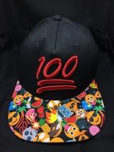 ONE HUNDRED 100 POINTS EMOJI EMOTICON FLAT BILL SNAPBACK RED BLACK HAT CAP - $11.29