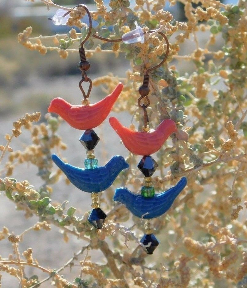 Handmade Artisan Crafted Pink & Blue Colored Bird Drop Dangle Earrings from USA!