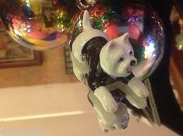 ceramic miniature dog white West Highland Terrier Westie w black sweater w stars image 6