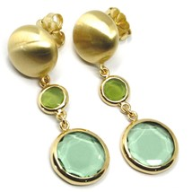 925 STERLING SILVER BIG PENDANT YELLOW EARRINGS 5cm, NUGGET, GREEN GLASS PASTE image 1