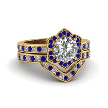 Round Cut CZ Victorian Halo Wedding Ring Set w/ Blue Sapphire 14k Yellow Gold Fn - $139.99